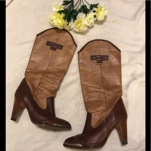 Zodiac two-toned brown leather boots